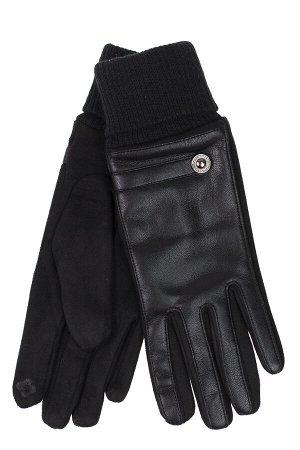 Кожаные женские перчатки на флисе, цвет чёрный