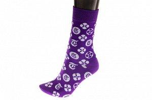 Женские носки с иконками, основной цвет фиолетовый