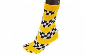 Носки женские в клетку с высокой резинкой, хлопок-полиамид-эластан, цвет желтый