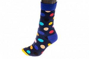 Носки женские в горошек с высокой резинкой, хлопок-полиамид-эластан, цвет синий