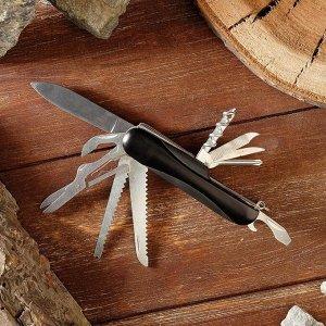 Нож швейцарский 11в1 рукоять черная выпуклая