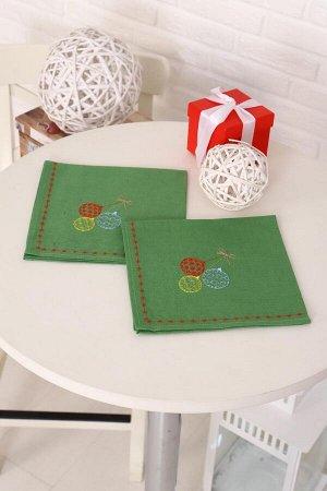 Комплект из 2 льняных салфеток с вышивкой, лен 100 % (Новогодние шары, зеленый)