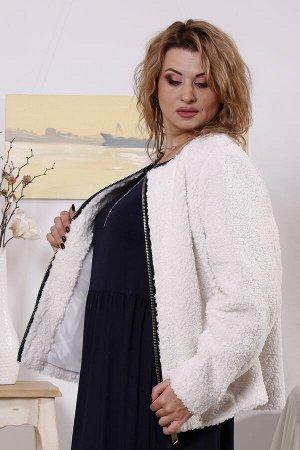 Короткая куртка из белого искусственного меха t01658-1