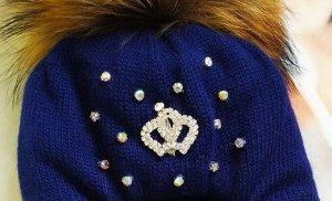 Шапка для девочки, цвет синий