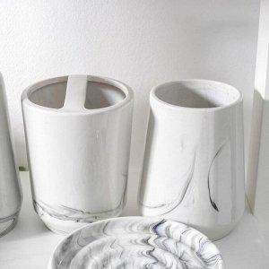 Набор аксессуаров для ванной комнаты «Лола», 4 предмета (мыльница, дозатор для мыла, 2 стакана), цвет серый