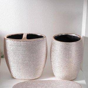 Набор аксессуаров для ванной комнаты «Камилла», 4 предмета (мыльница, дозатор для мыла 480 мл, 2 стакана), цвет розовый
