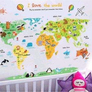 """Наклейка пластик интерьерная цветная """"Карта мира - животные"""" 60х90 см"""
