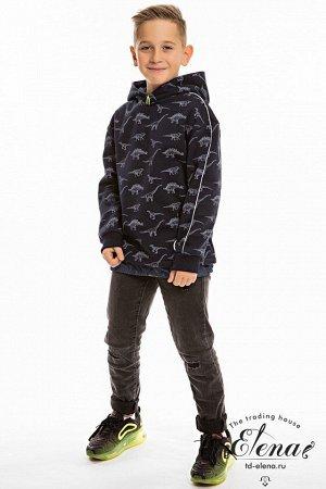 Толстовка Толстовка выполнена из поларфлиса с отделочными элементами из джинсовой ткани. В модели предусмотрен капюшон. Силуэт свободный, рукав толстовки сильно приспущенный, с декоративным кантом, ма