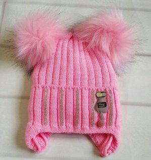 Шапка утепленная. Цвет розовый
