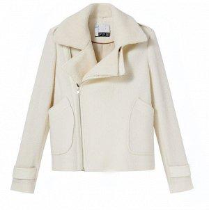 Укороченное пальто из шерсти со съемным воротником