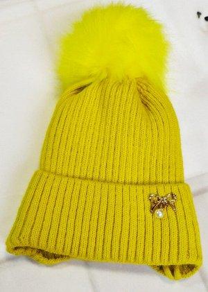 Шапка утепленная. Цвет желтый
