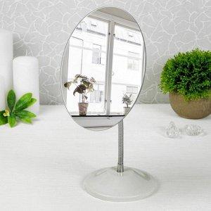 Зеркало настольное, на гибкой ножке, d зеркальной поверхности 15 см, цвет белый