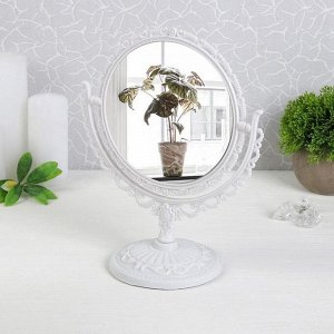 Зеркало настольное «Ажур», двустороннее, с увеличением, d зеркальной поверхности — 14,7 см, цвет белый