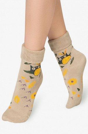 Теплые махровые носки nс прикольным принтом Совенок