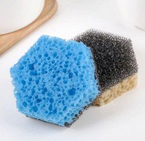 Набор губок для тефлоновой посуды 9×9×3 см, 2 шт, цвет МИКС