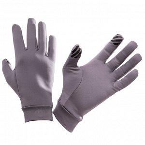 Утепленные тактильные перчатки для бега warm+, унисекс серые kalenji