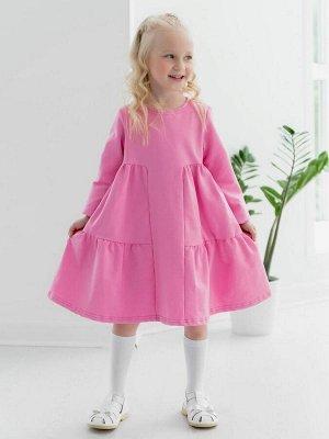 """Платье Платье """"летящего силуэта"""" из футера розового цвета для девочки, с 2 воланами, с длинными рукавами. Для удобства одевания на спинке застежка с потайной молнией. Изделие выполнено из трикотажа пр"""