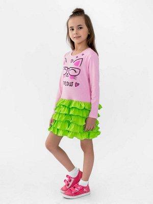 Платье Оригинальное платье для девочки из кулирки розового цвета для девочкис длинными рукавами и воланами юбки. Изделие выполнено из трикотажа премиального качества - ПЕНЬЕ, с содержанием хлопка боле