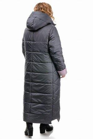 Пальто «Хельга», 50-56, арт.313 серый-розовый