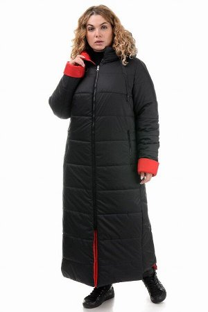 Пальто «Хельга», 50-56, арт.313 черный-красный