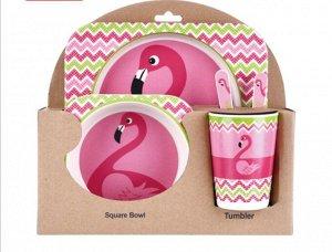 """Набор детской посуды из бамбука """"Фламинго"""""""