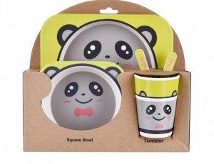 """Набор детской посуды из бамбука """"Панда с бантиком"""""""