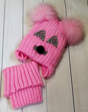 Шапка + снуд, цвет розовыйшапк
