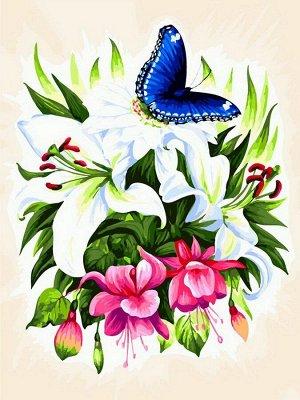 Набор для творчества Белоснежка Картина по номерам на холсте Бабочка в ботаническом саду 30х40см12
