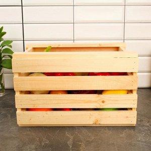 Ящик для овощей и фруктов, 40 ? 30 ? 25 см, деревянный