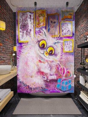 Фотоштора для ванной Котик с подарком