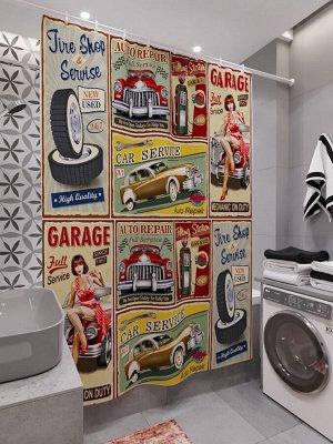 Фотоштора для ванной Пинап постеры