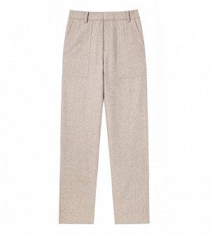 Шерстяные свободные брюки беж