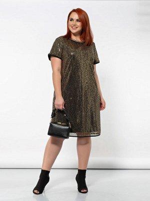 Платье 0153-1 черный с золотом