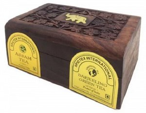 Чайный набор листового чая Assam Black Tea & Darjeeling Green Tea 2 упак. по 50 гр. в деревянной шкатулке