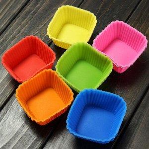 """Набор силиконовых форм для выпечки Cookstyle """"Квадратные"""" / 6 шт. 7 x 7 x 3 см"""