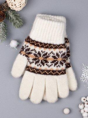 Перчатки вязаные для девочки, снежинки, молочный 7-10 лет (обхват ладони 16 см)