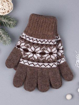 Перчатки вязаные для девочки, снежинки, коричневый 5-7 лет (обхват ладони 15 см)