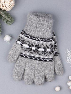 Перчатки вязаные для девочки, снежинки, серый 5-7 лет (обхват ладони 15 см)
