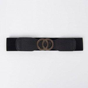 Ремень, ширина 5 см, резинка, пряжка металл, цвет чёрный