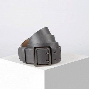 Ремень, ширина 4 см, винт, пряжка металл, цвет серый