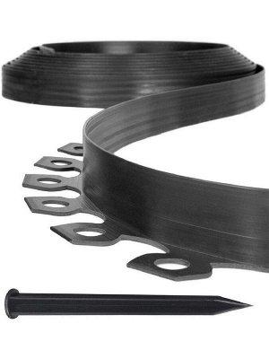 Садовый бордюр гибкий 10м* 38 мм+30 кольев в комплекте, Коричневый