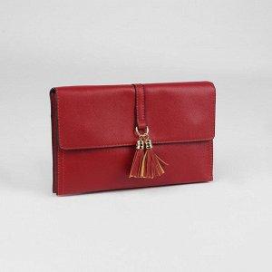 Клатч женский, 3 отдела на молнии, наружный карман, с ручкой, регулируемый ремень, цвет красный