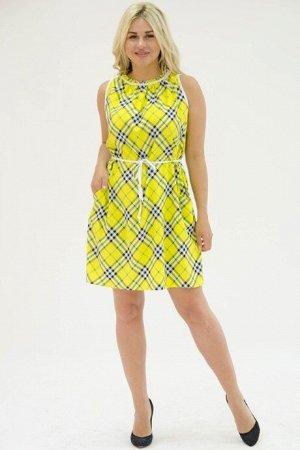 Платье П 700-3 (желтая_косая клетка)