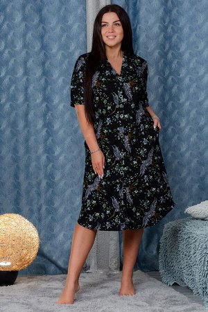 Халат 2617 Ткань:   Кулирка      Состав:   100% хлопок      Размеры:   50, 52, 54, 56, 58, 60 Изящный женский халат создан из приятного к телу трикотажа, который очень актуален в тёплый сезон, или в т