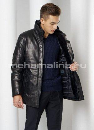 Зимняя куртка на пуху, натуральная кожа.