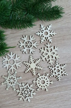 Заготовки деревянные декор Снежинки микс 5см (9шт в наборе)