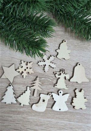 Заготовки деревянные декор Новогоднее ассорти 3см (12шт в наборе)