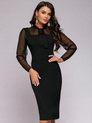 Платье-футляр черное длины миди с рукавами из фатина