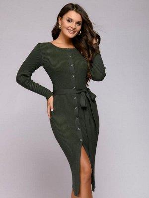 Платье трикотажное зеленое с пуговицами