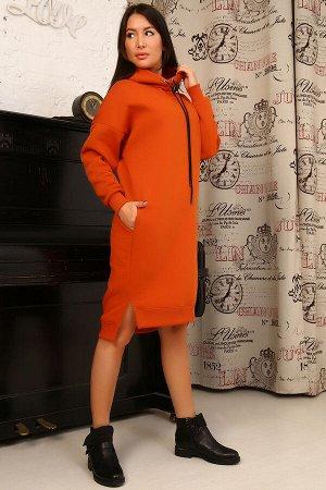 Платье Бренд: Натали. Ткань: футер с начесом  Состав: хлопок 100%  Платье утепленное с капюшоном в стиле оверсайз. Данная модель выполнена из трикотажного полотна футер с начесом. Манжеты выполнены из